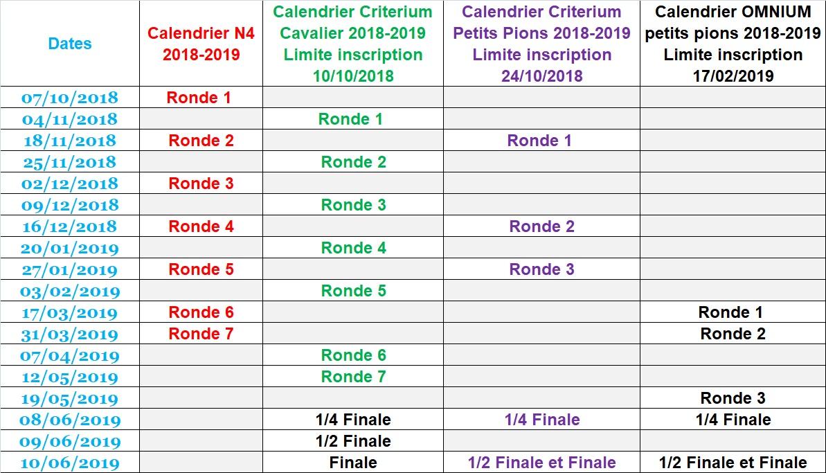Calendrier Compétitions saison 2018-2019