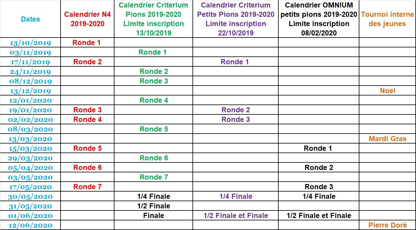 CERSB Dates Compétitions saison 2019-2020 N4 PIONS PETITS-PIONS